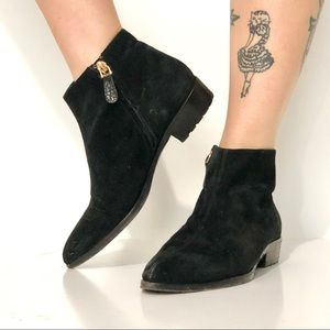 Giuseppe Zanotti black suede point toe ankle boots